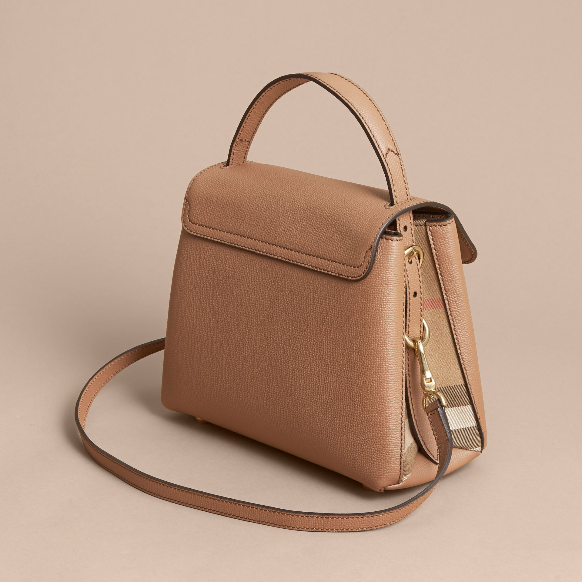 Small Grainy Leather and House Check Tote Bag in Dark Sand - Women | Burberry United Kingdom - gallery image 2