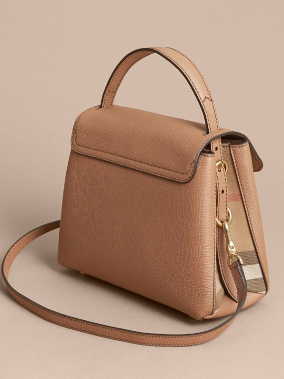 Small Grainy Leather and House Check Tote Bag in Dark Sand - Women | Burberry - cell image 2