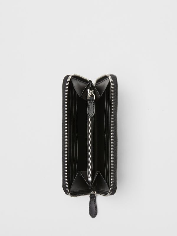 Perforated Check Leather Ziparound Wallet in Black - Men | Burberry United Kingdom - cell image 3