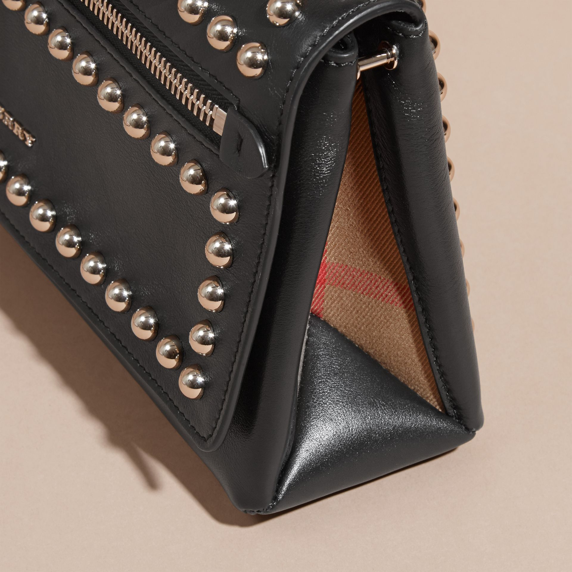 Black Smooth Leather Clutch Bag with Stud Detail - gallery image 7