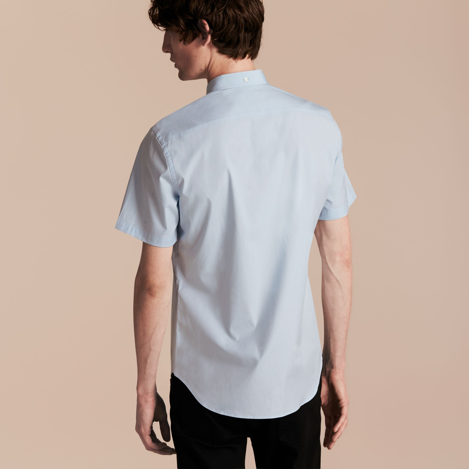 Short-sleeved Stretch Cotton Poplin Shirt in Pale Blue - Men | Burberry - gallery image 3