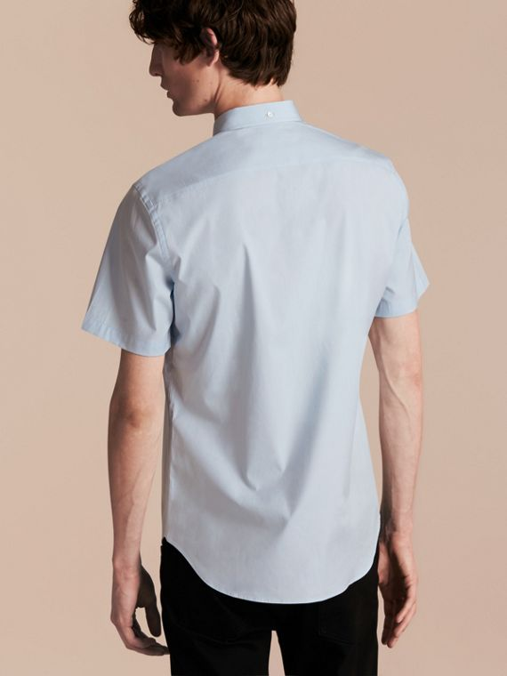 Short-sleeved Stretch Cotton Poplin Shirt Pale Blue - cell image 2