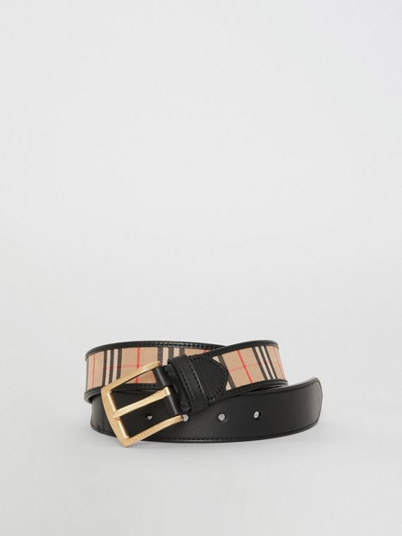 1983 Check and Leather Belt in Black