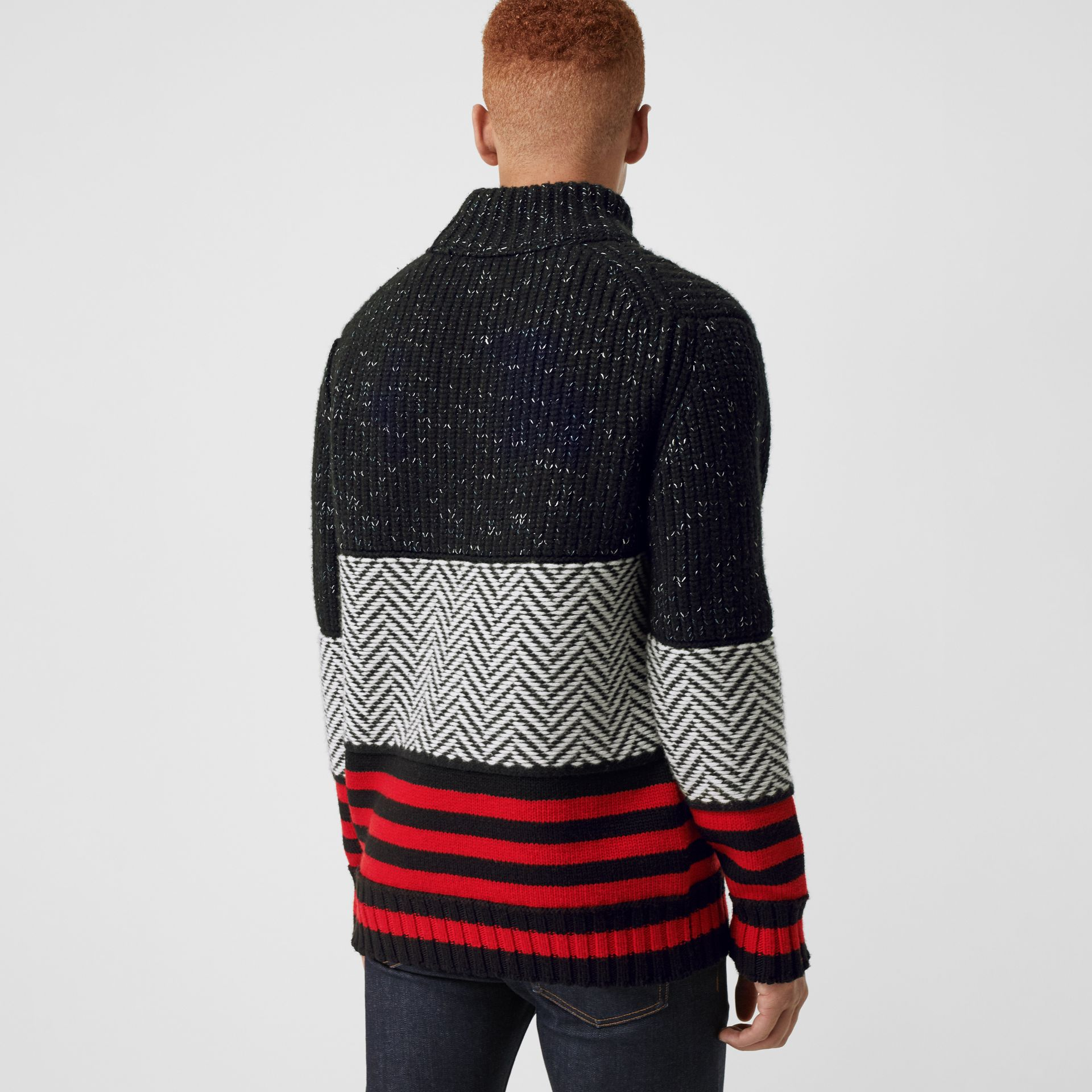 Contrast Knit Wool Cashmere Blend Sweater in Black - Men | Burberry United States - gallery image 2
