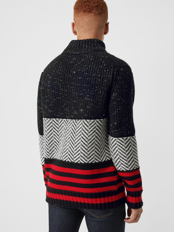 Contrast Knit Wool Cashmere Blend Sweater in Black - Men | Burberry - cell image 2