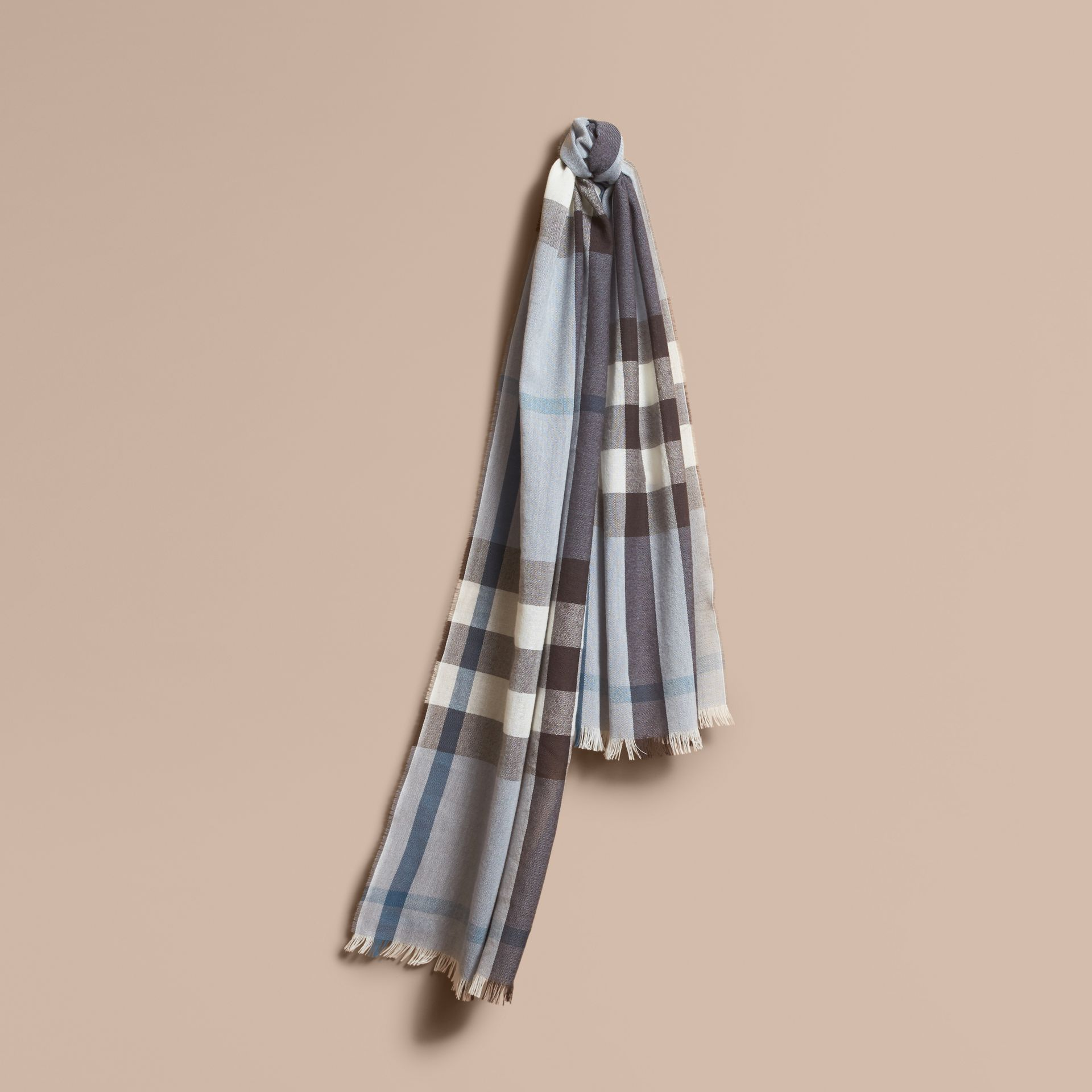 Lightweight Check Wool Cashmere Scarf in Mist Grey | Burberry - gallery image 1