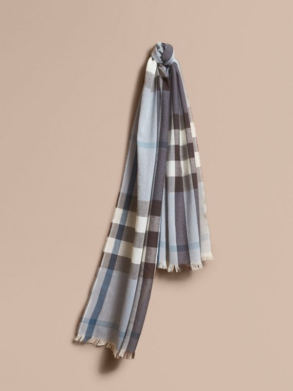Lightweight Check Wool Cashmere Scarf Mist Grey