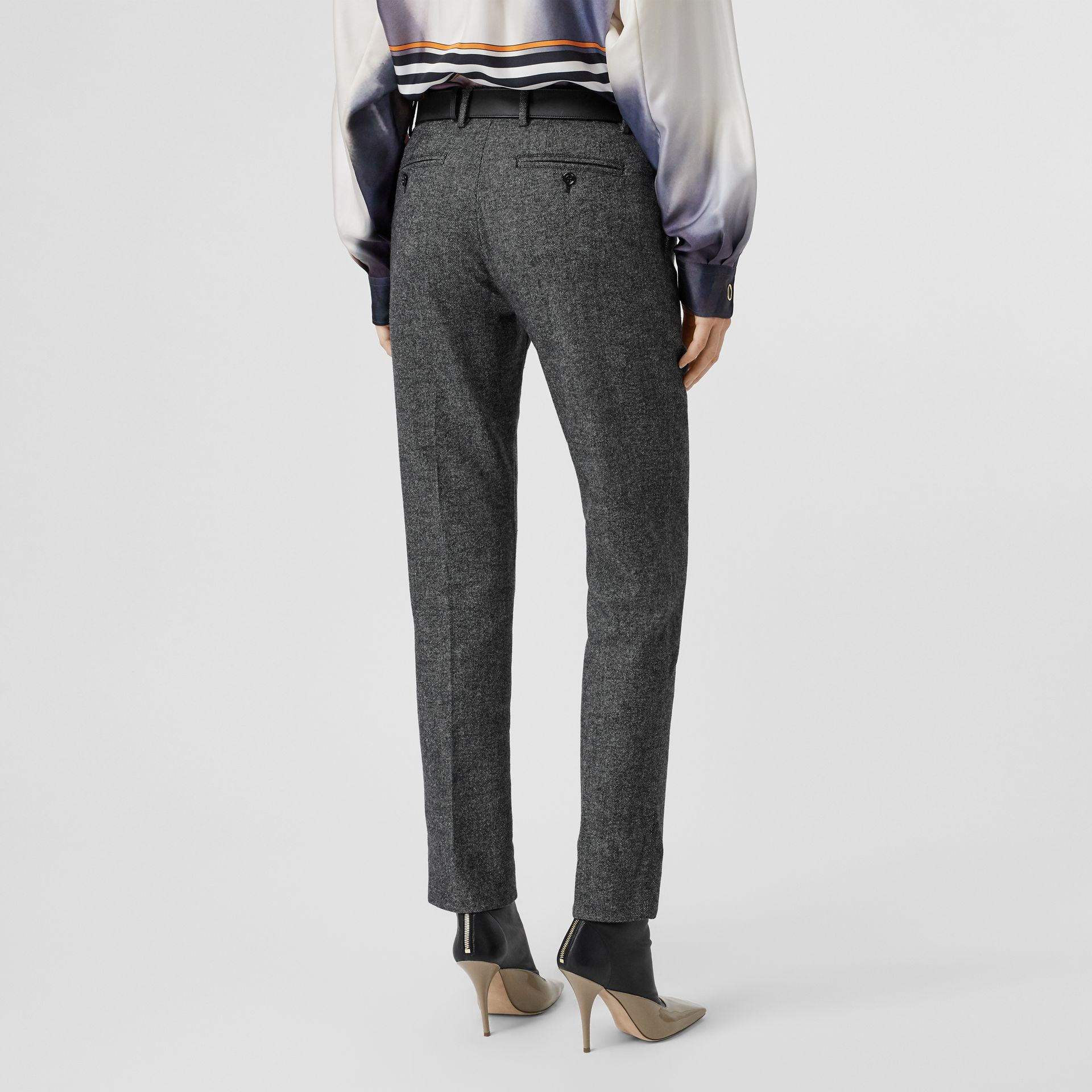 Wool Cashmere Tweed Cropped Tailored Trousers in Black Melange - Women | Burberry - gallery image 2