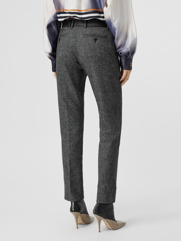 Wool Cashmere Tweed Cropped Tailored Trousers in Black Melange - Women | Burberry - cell image 2
