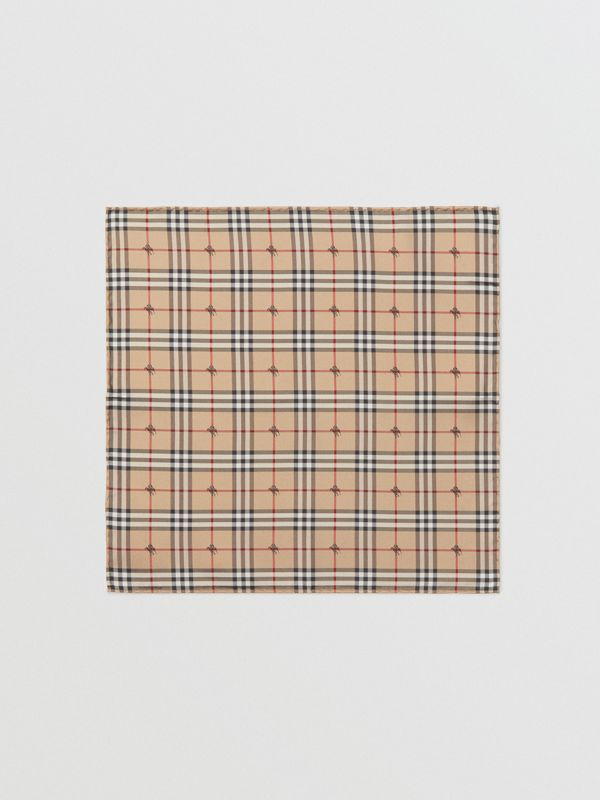 Equestrian Knight Check Silk Pocket Square in Camel - Men | Burberry - cell image 2