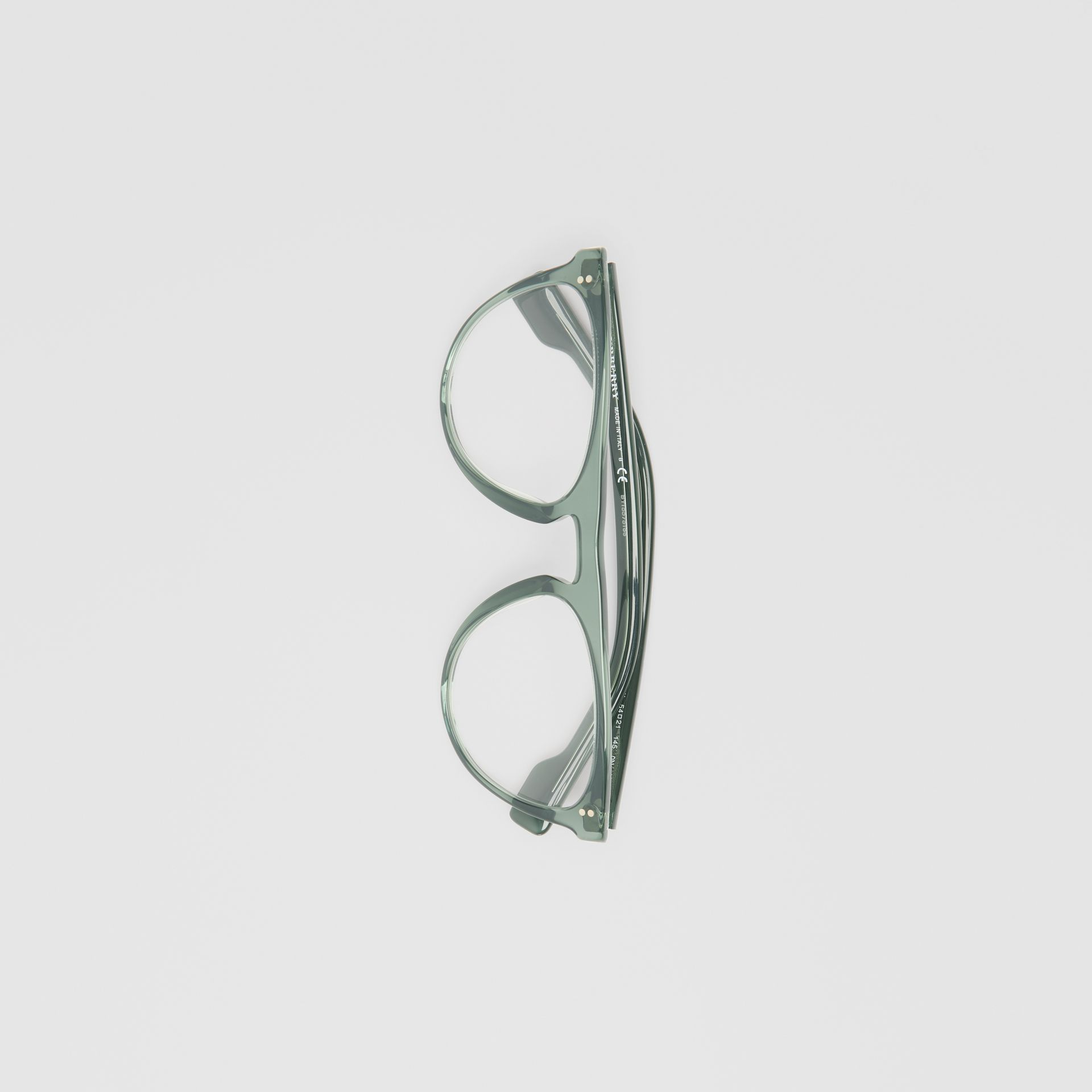 Keyhole D-shaped Optical Frames in Green - Men | Burberry - gallery image 3