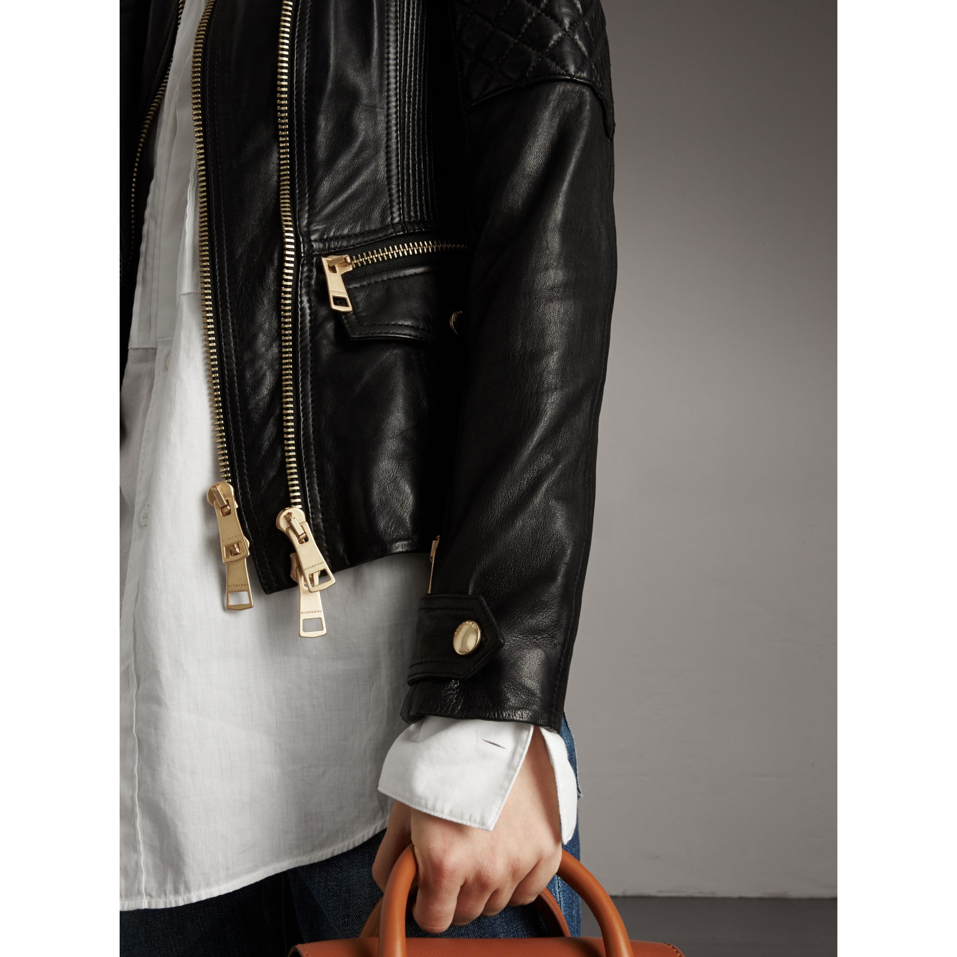 Diamond Quilted Detail Lambskin Biker Jacket - Women | Burberry - gallery image 2