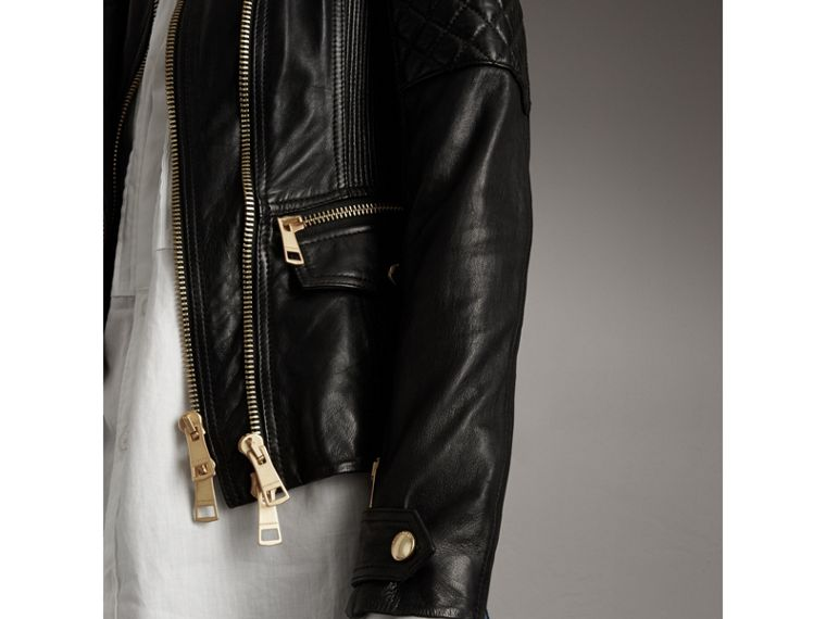 Diamond Quilted Detail Lambskin Biker Jacket in Black - Women | Burberry - cell image 1