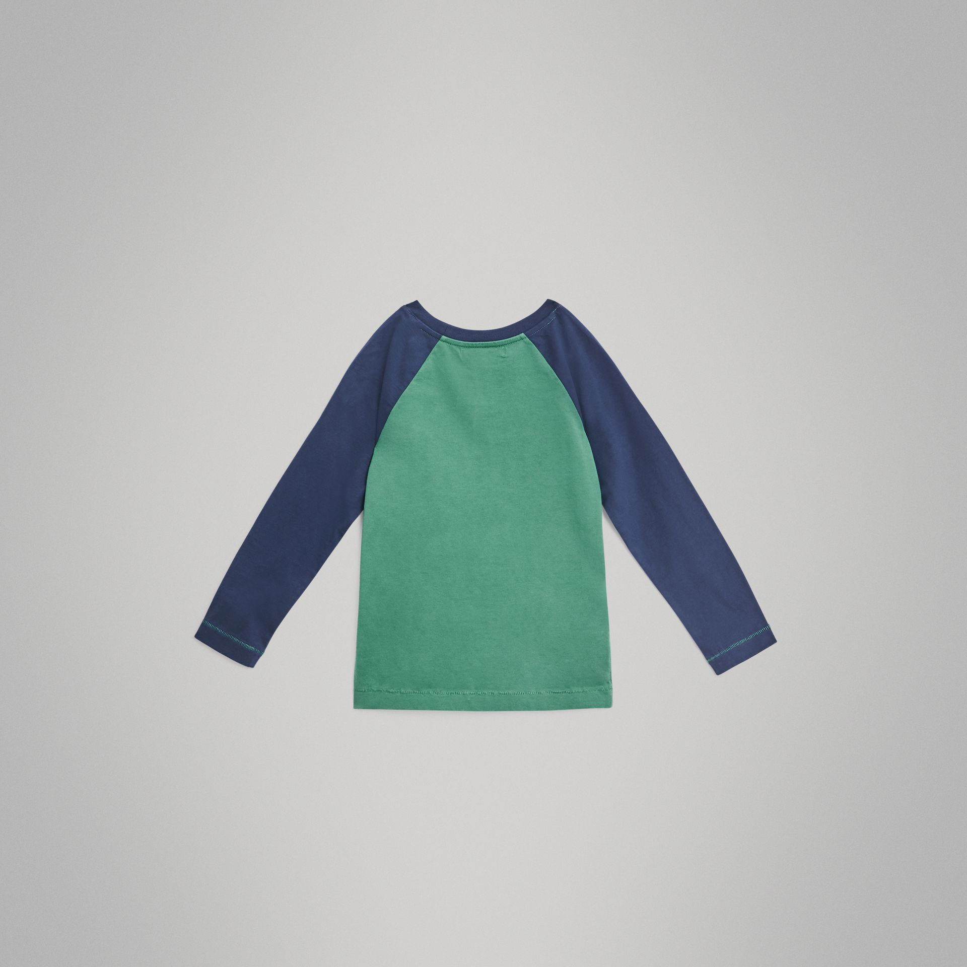 Archive Logo Print Two-tone Cotton Top in Bright Pigment Green | Burberry Australia - gallery image 3