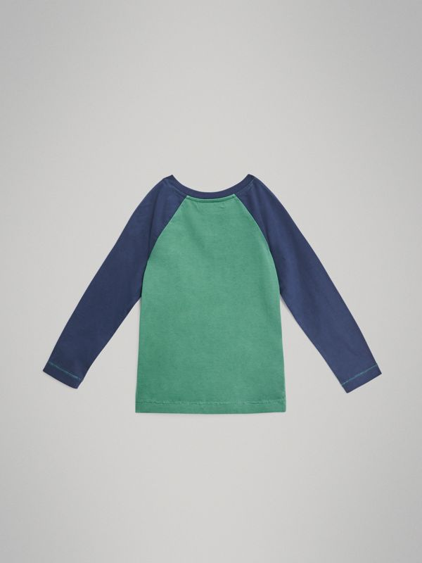 Archive Logo Print Two-tone Cotton Top in Bright Pigment Green | Burberry Australia - cell image 3
