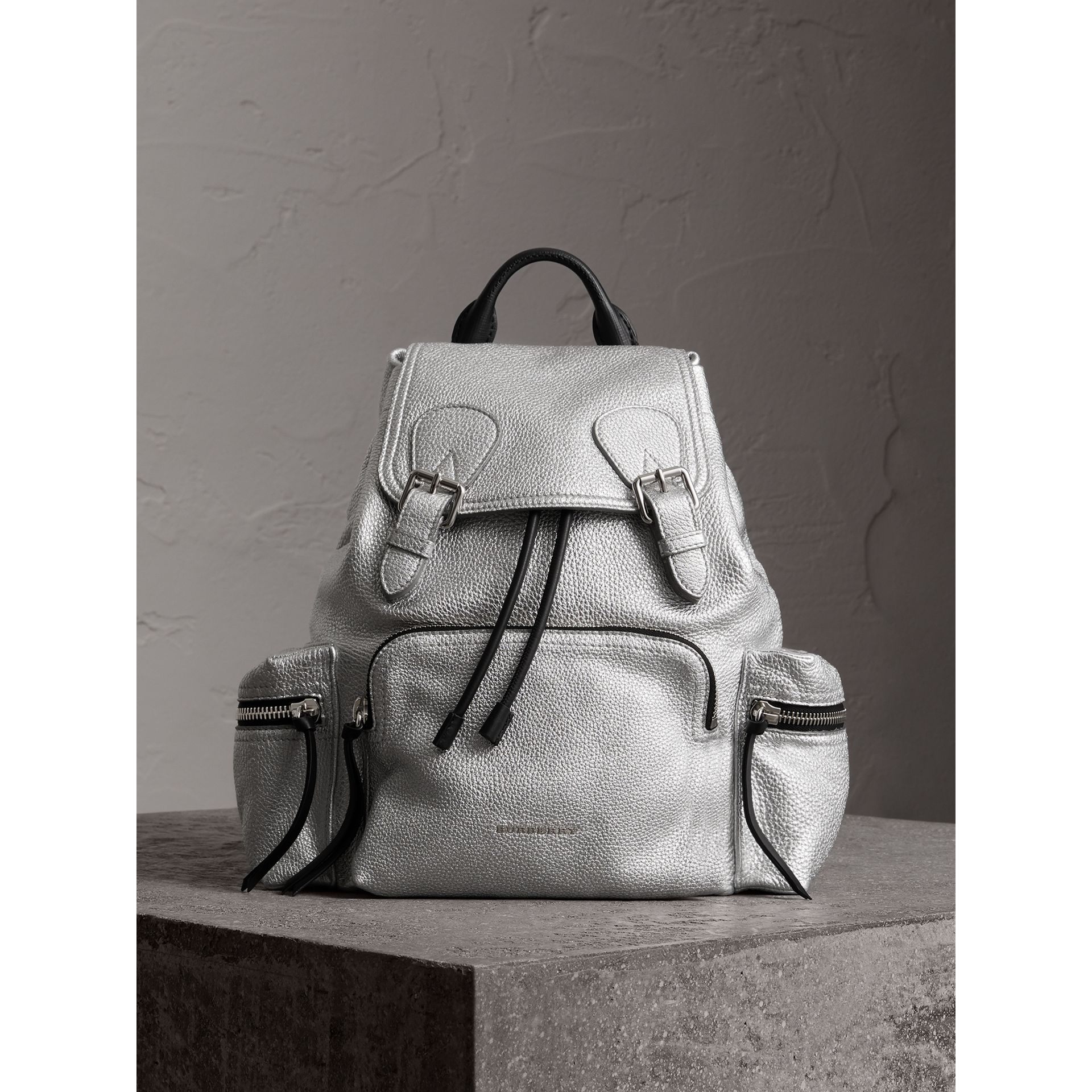The Medium Rucksack in Metallic Deerskin in Silver - Women | Burberry Australia - gallery image 5