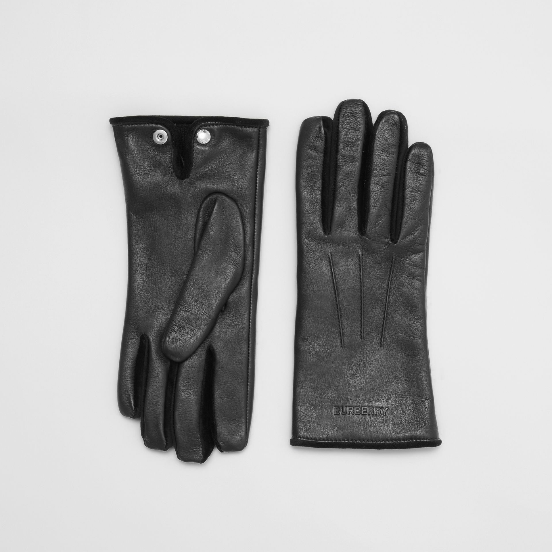 Embossed Logo Cashmere-lined Lambskin Gloves in Black/black - Men | Burberry - gallery image 0