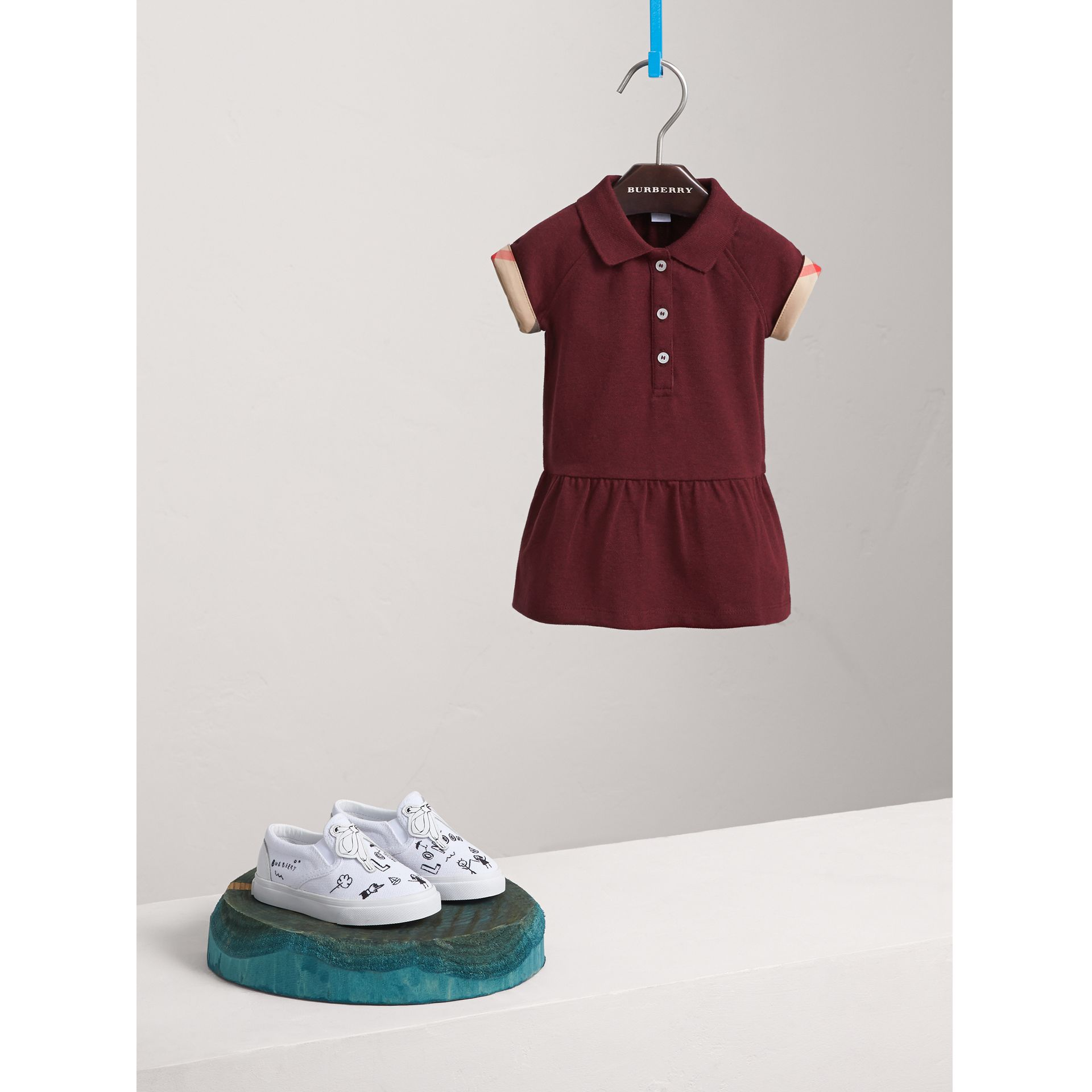 Check Detail Cotton Piqué Shirt Dress in Burgundy Melange | Burberry - gallery image 1