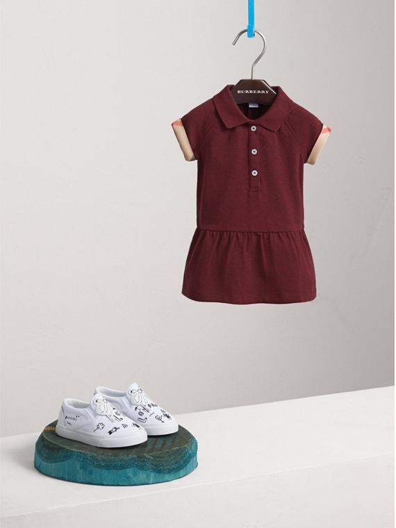 Check Detail Cotton Piqué Shirt Dress | Burberry