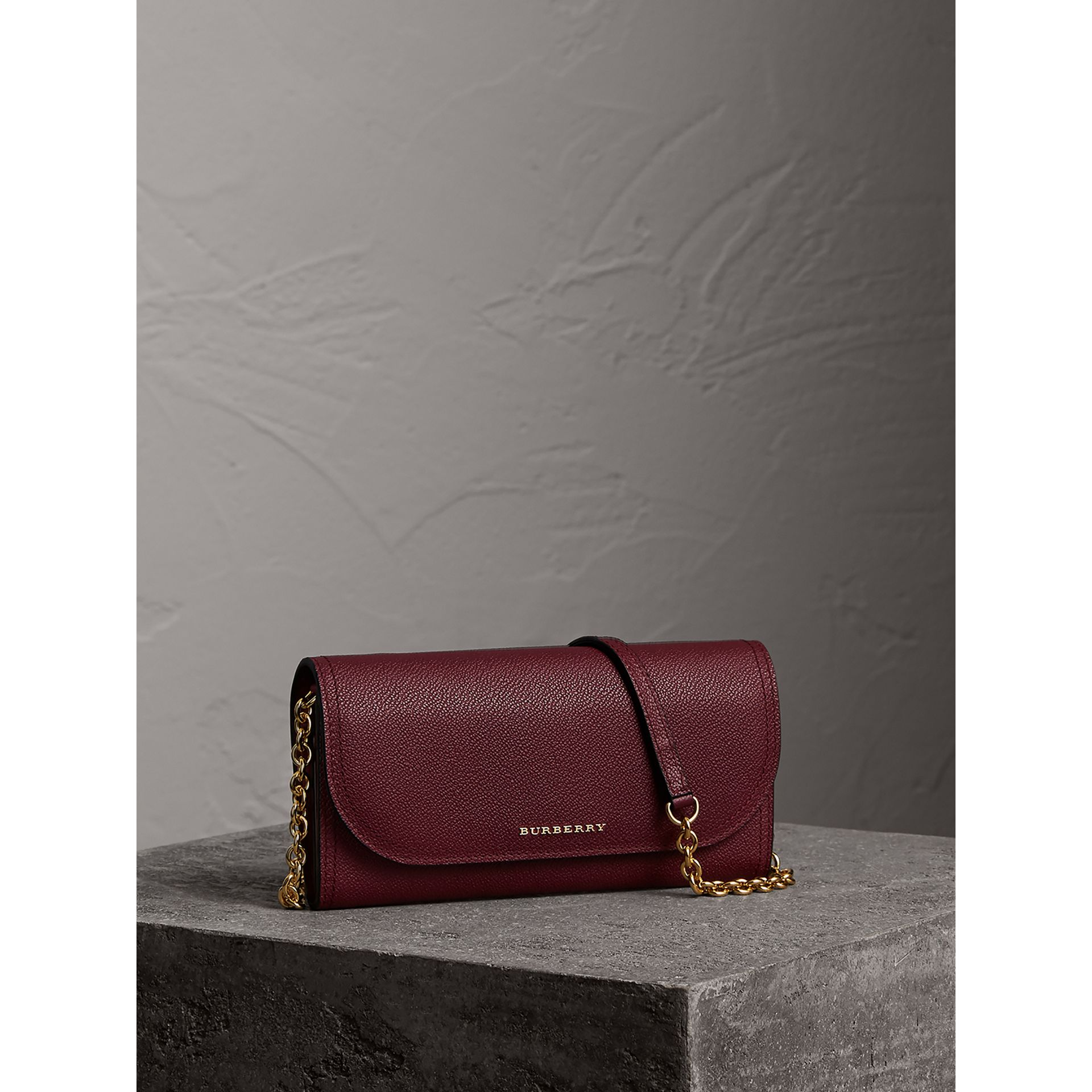 Leather Wallet with Chain in Dark Plum - Women | Burberry - gallery image 1