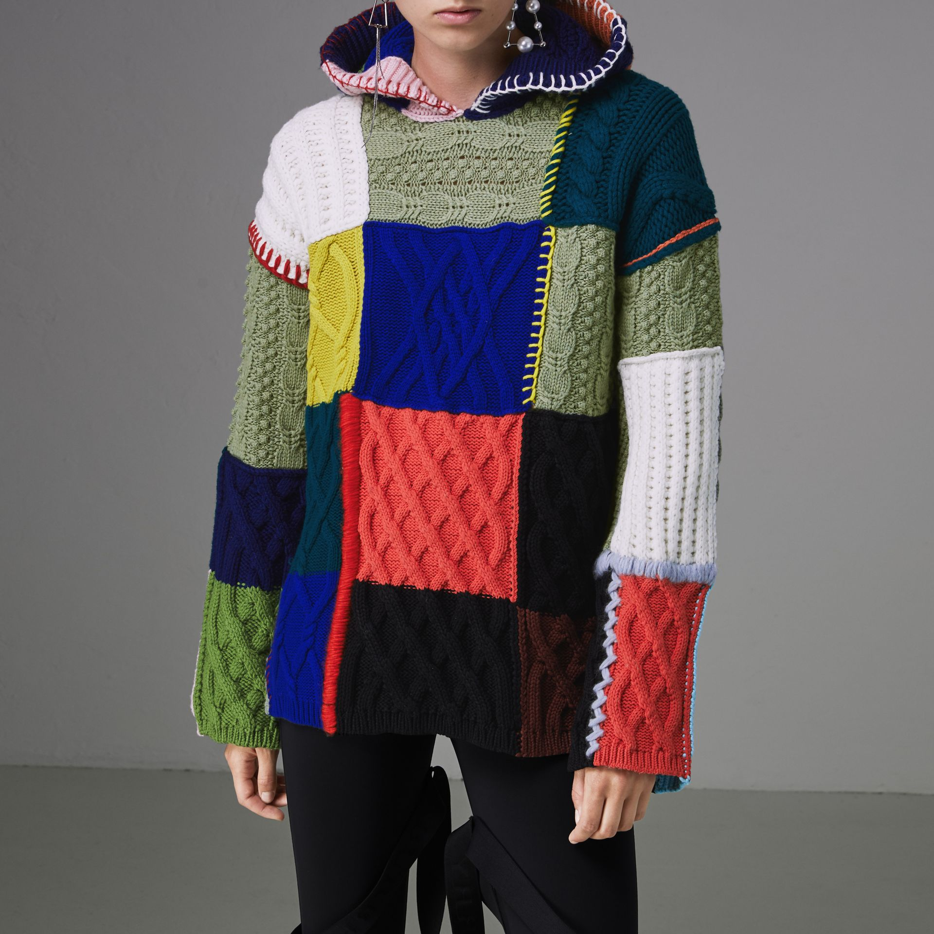 Patchwork Wool Cotton Blend Hoodie in Multicolour - Women | Burberry - gallery image 4