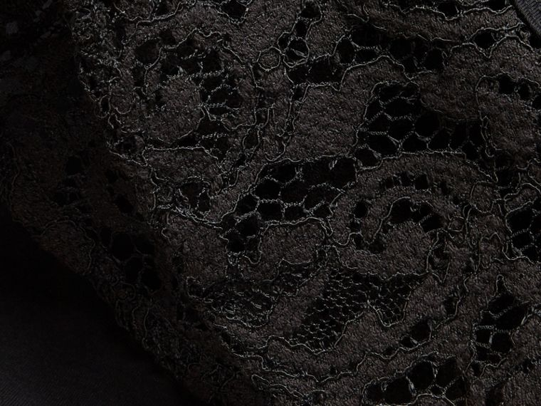 Black Lace Trim Cotton T-shirt Black - cell image 1