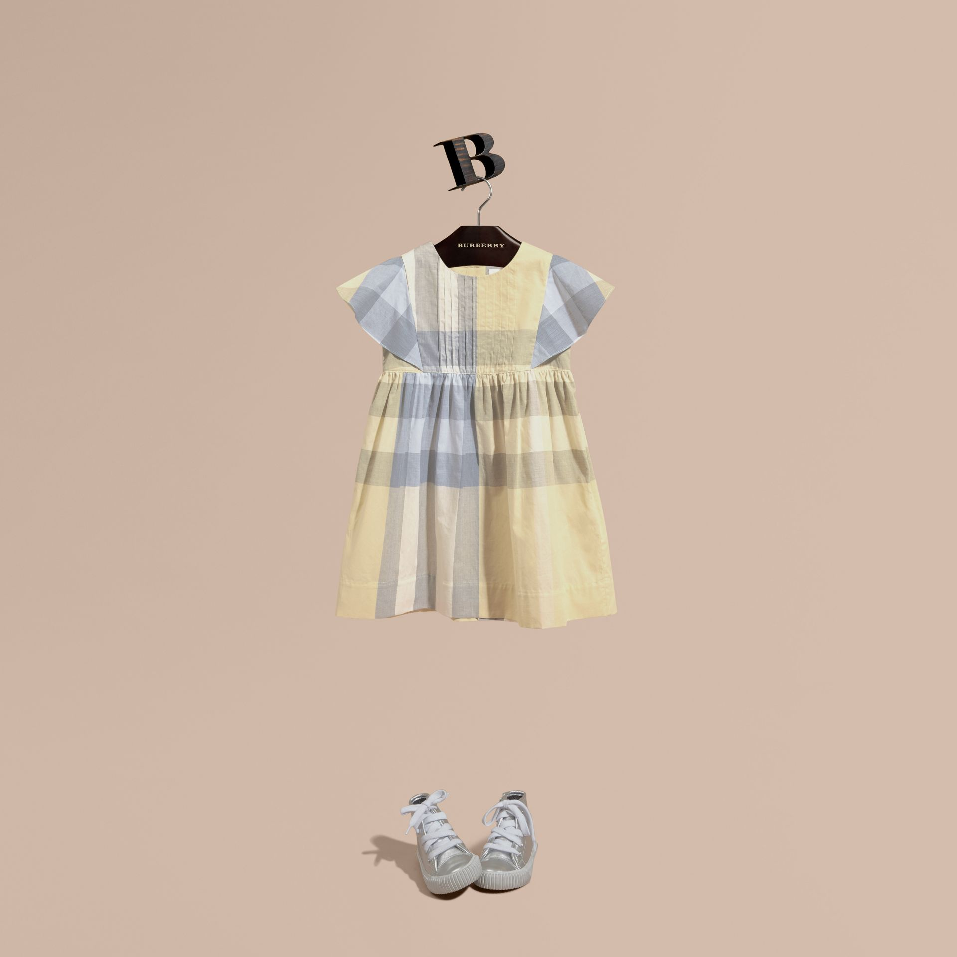 Ruffle Detail Check Cotton Dress in Pale Yellow - Girl | Burberry - gallery image 1