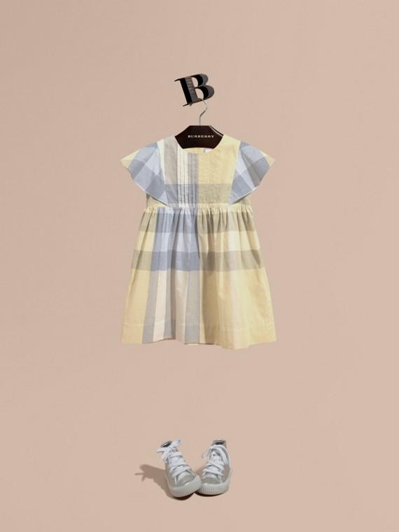 Ruffle Detail Check Cotton Dress Pale Yellow