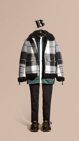 Shearling-trimmed Tartan Wool Flight Jacket