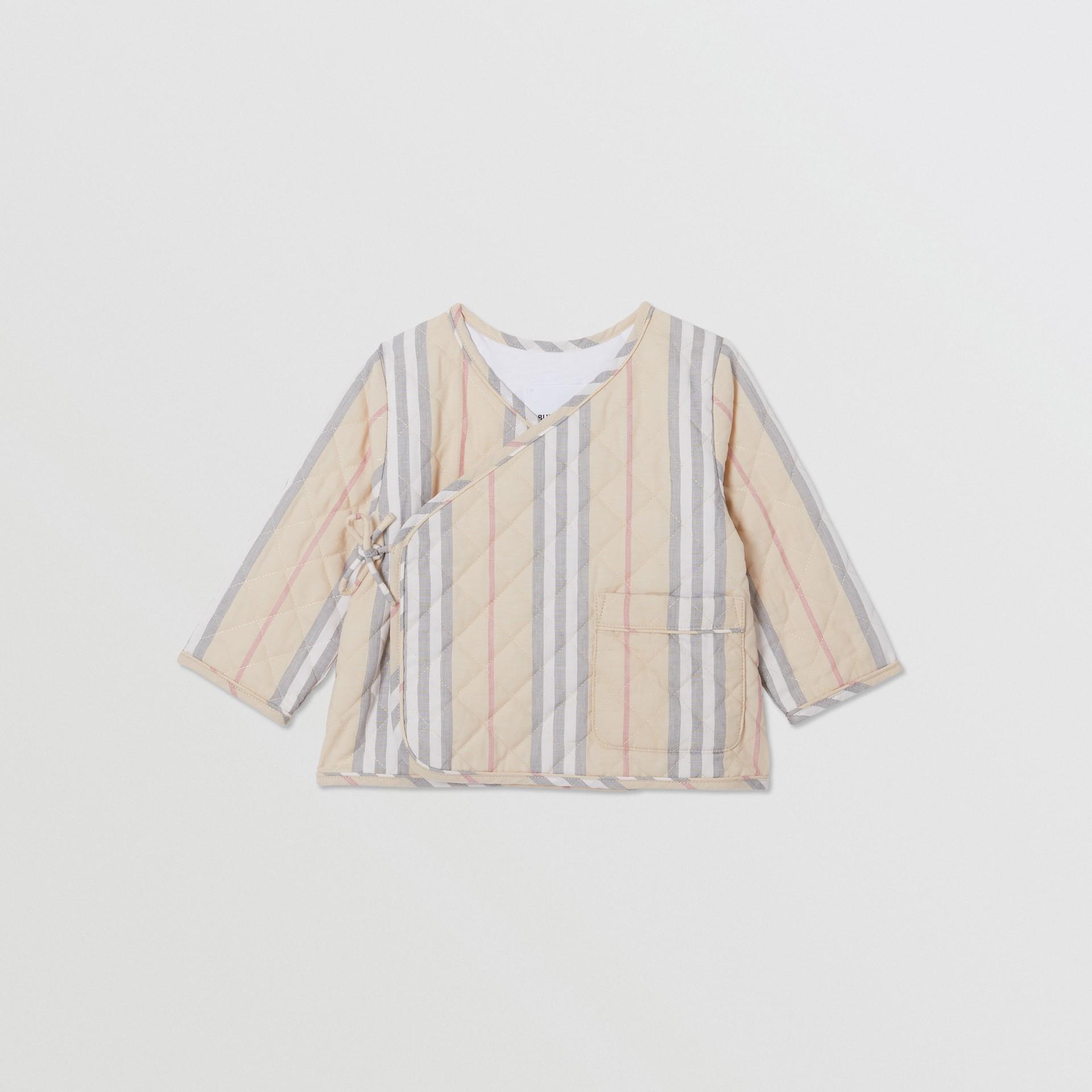 Chaqueta cruzada en algodón acolchado a rayas Icon Stripe (Piedra Pálido) - Niños | Burberry - imagen de la galería 0