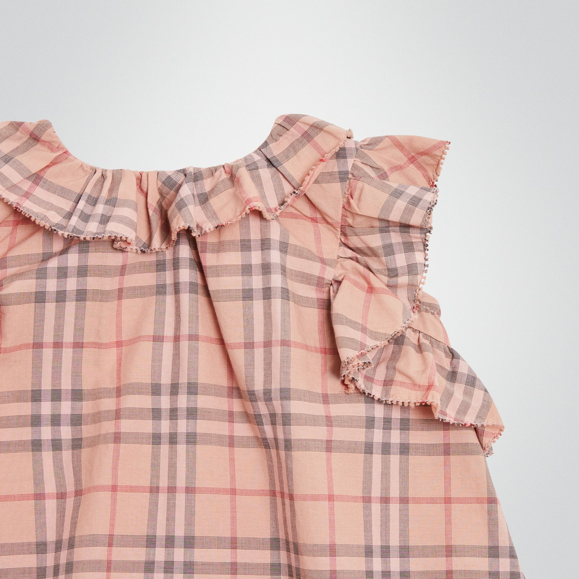 Ruffle Detail Check Cotton Dress with Bloomers in Light Rose - Children | Burberry - gallery image 5