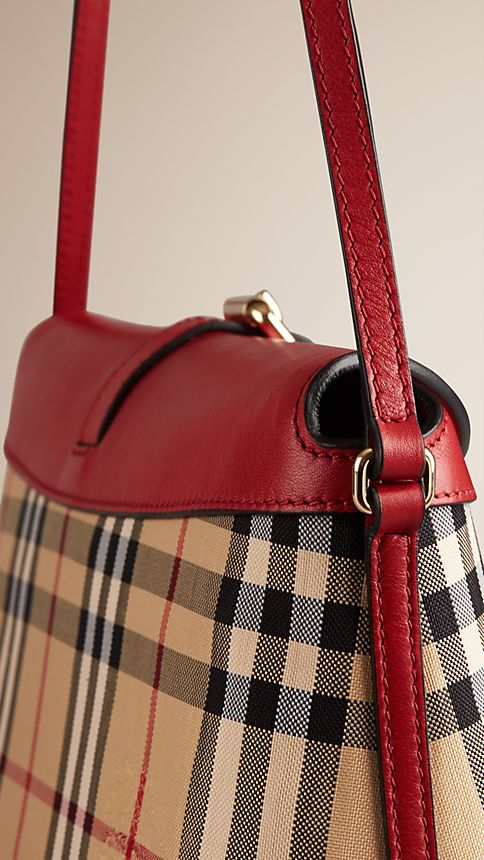 Honey/parade red Small Horseferry Check Clutch Bag - Image 7