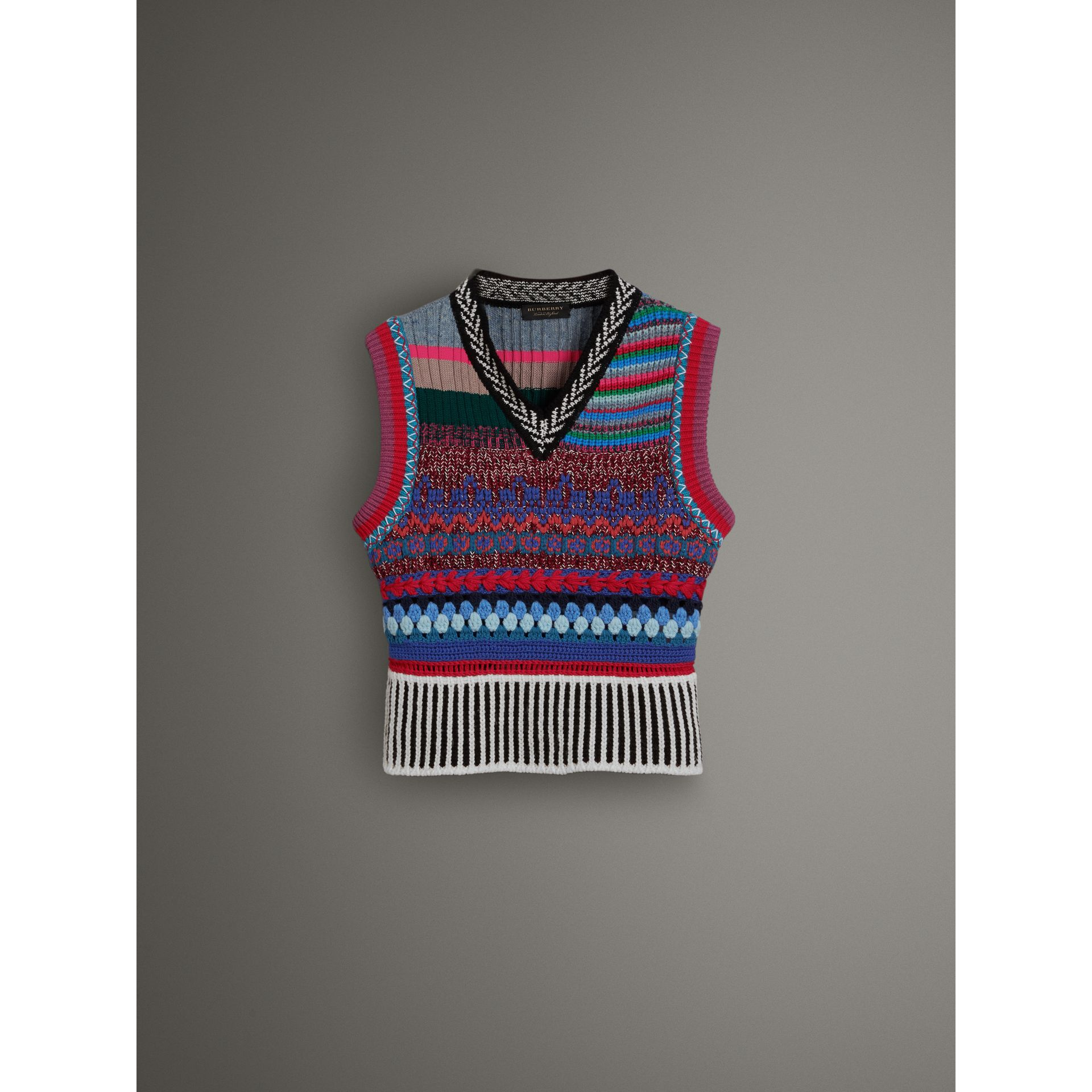 Hand-embroidered Wool Cashmere Blend Tank Top in Multicolour - Women | Burberry United Kingdom - gallery image 3