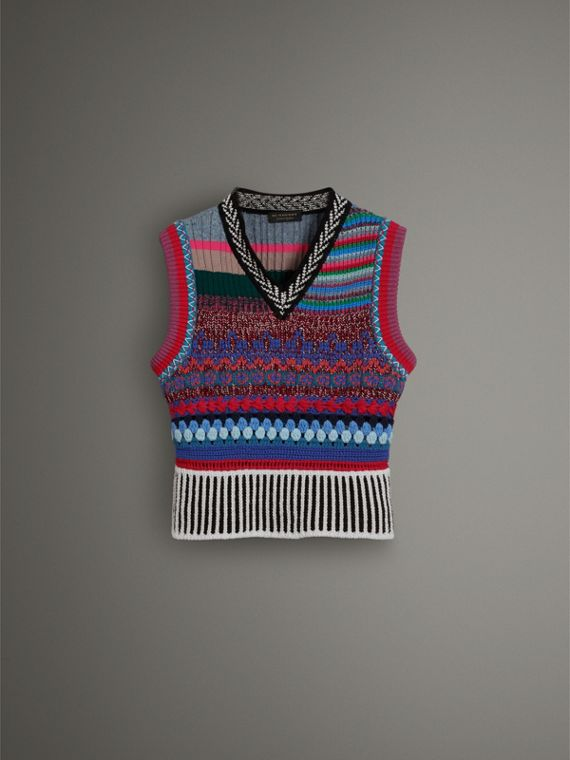 Hand-embroidered Wool Cashmere Blend Tank Top in Multicolour
