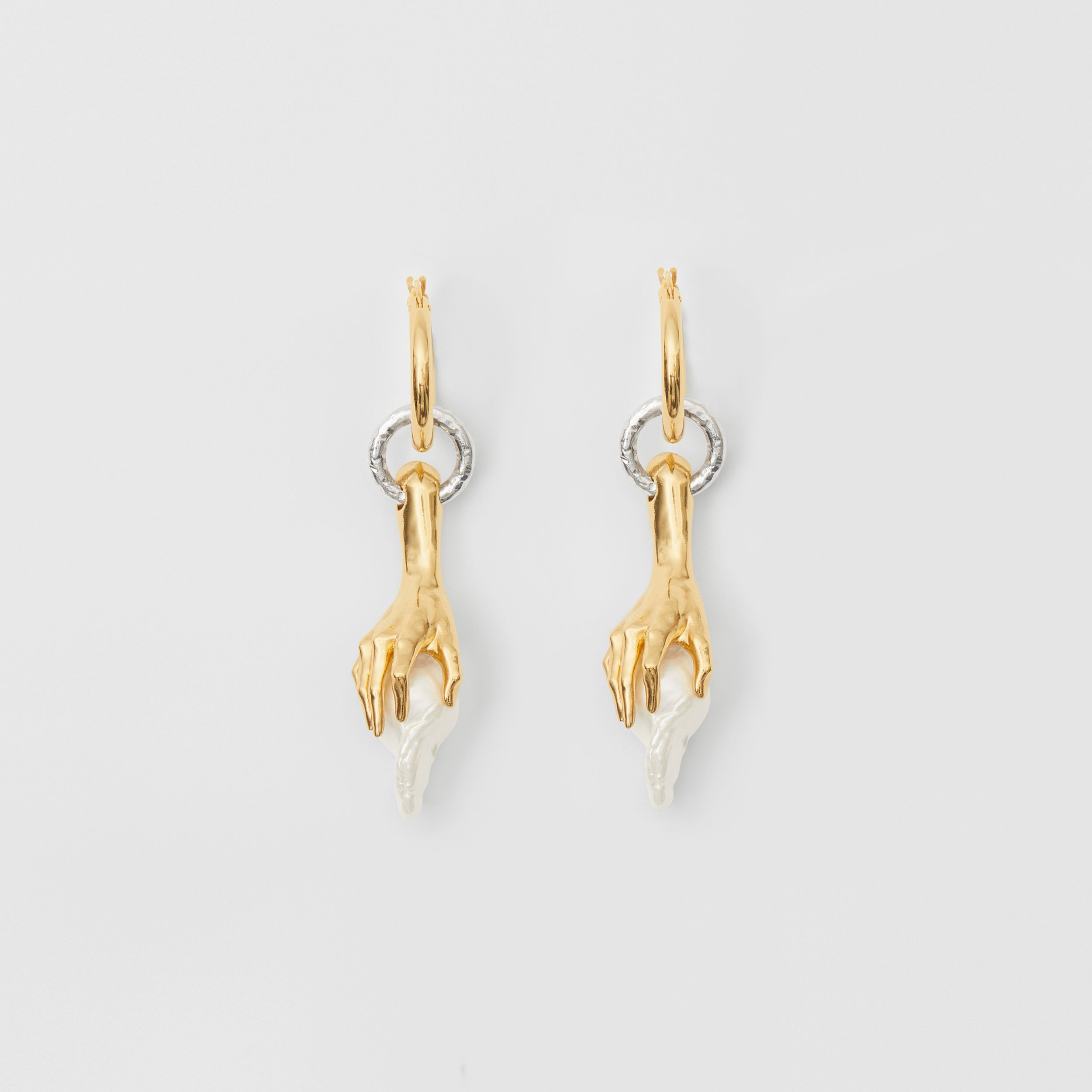 Resin Pearl Gold-plated Hoop Earrings in Light - Women | Burberry - 1