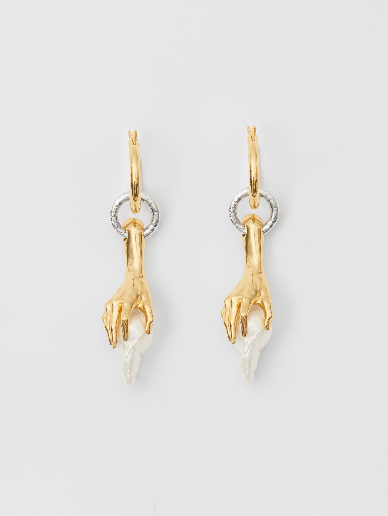 Faux Pearl Detail Gold-plated Hoop Earring in Light Gold/white