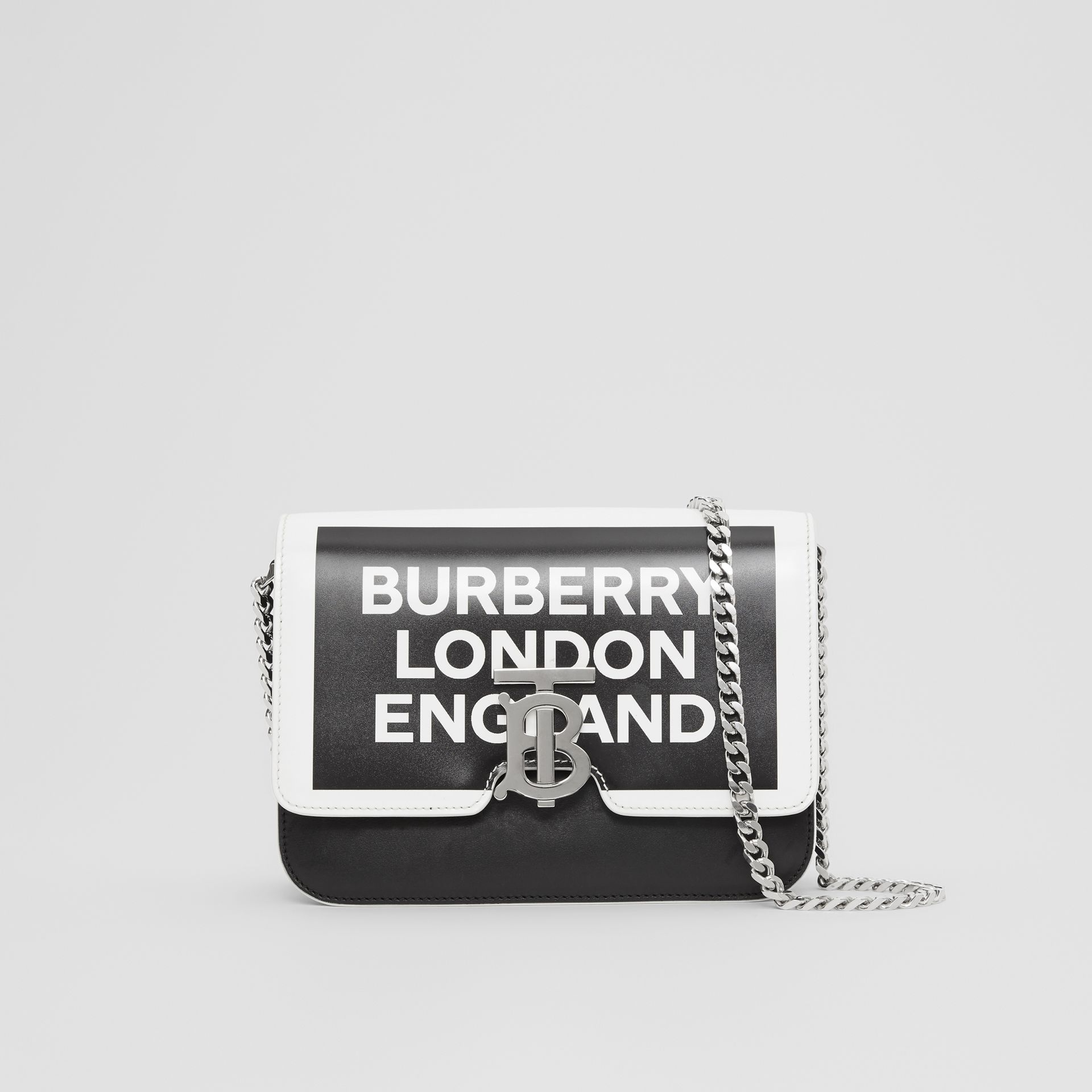 Small Logo Print Leather TB Bag in Black/white - Women | Burberry Australia - gallery image 0