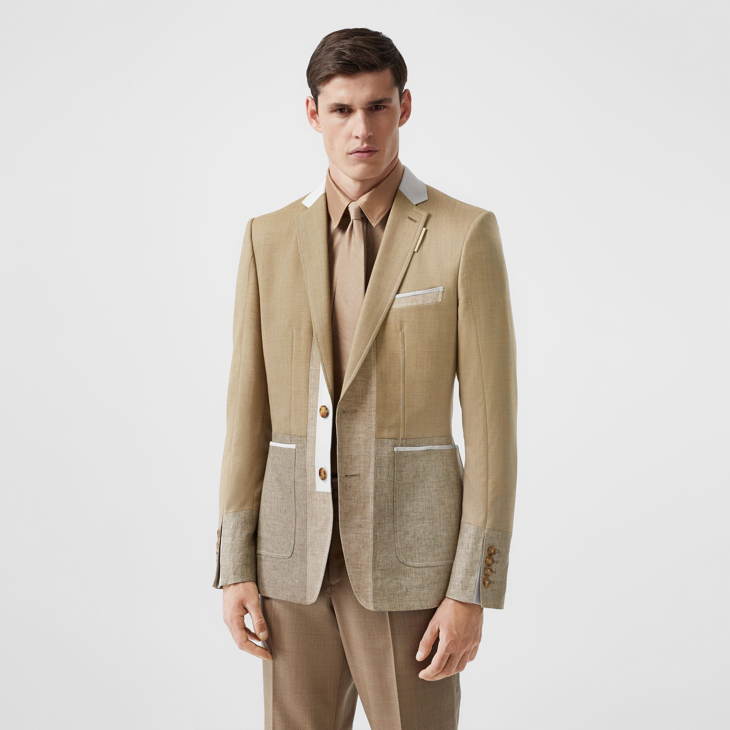 English Fit Wool Cashmere and Linen Tailored Jacket in Pecan Melange - Men | Burberry - 1