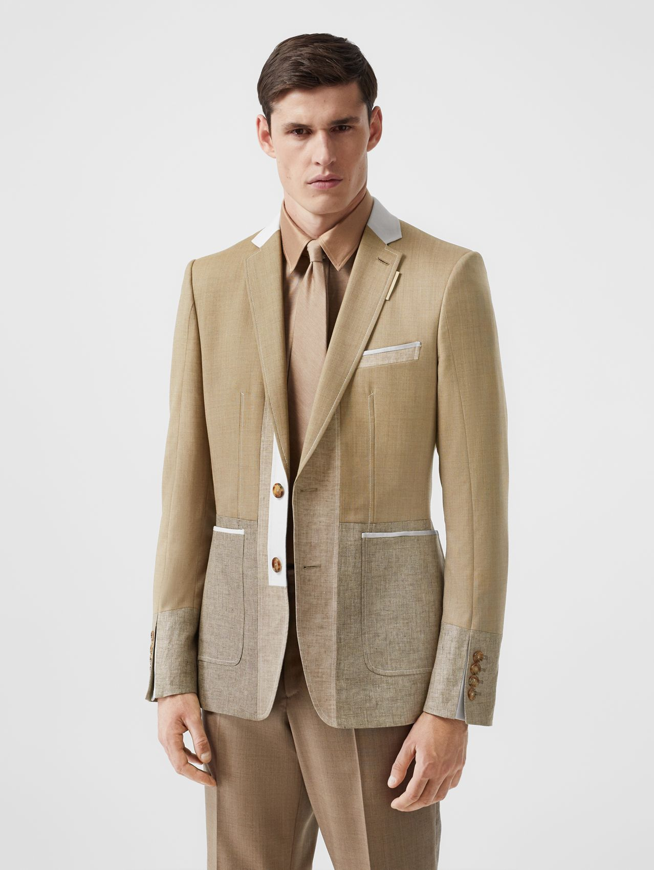 English Fit Wool Cashmere and Linen Tailored Jacket (Pecan Melange)