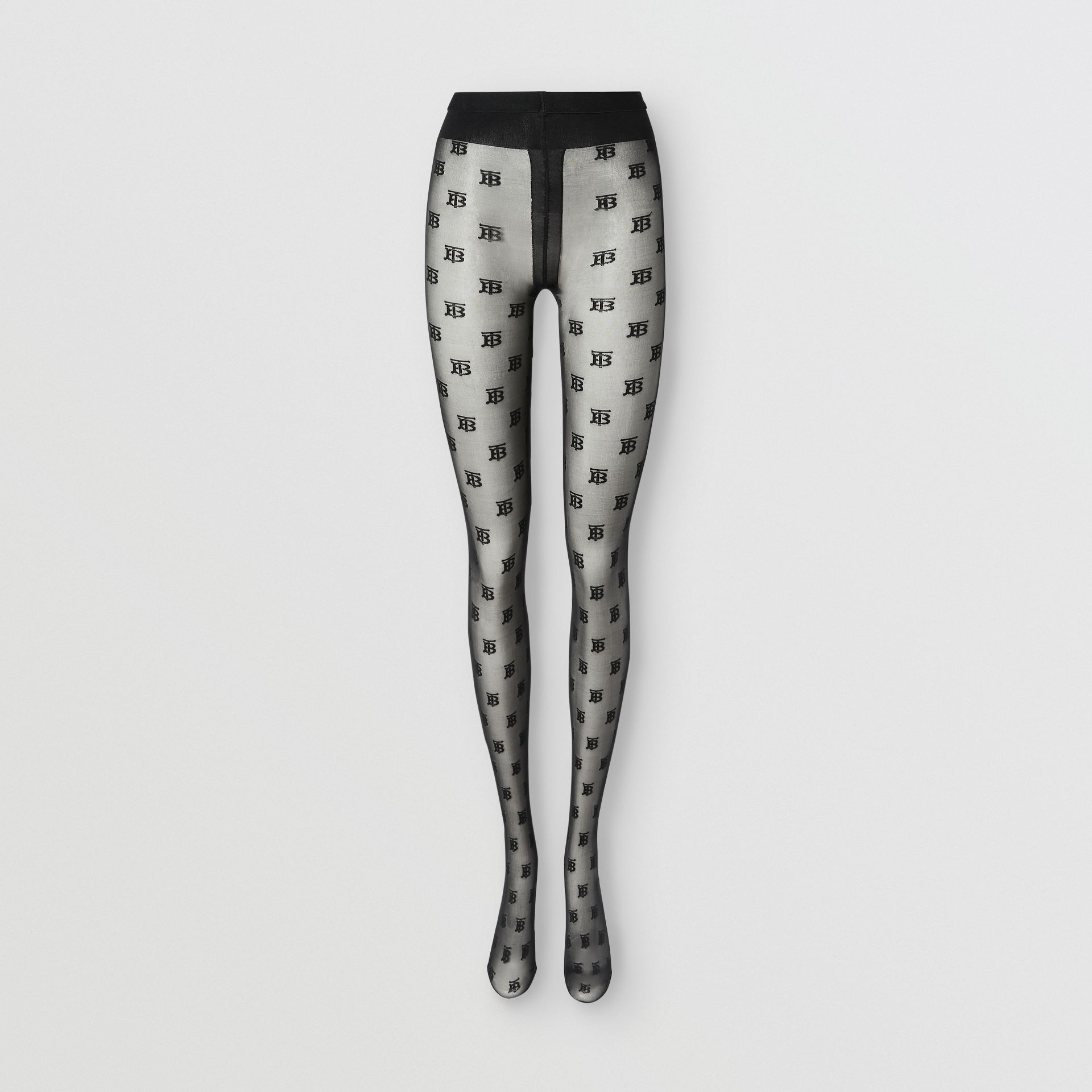 Monogram Motif Tights in Black - Women | Burberry United Kingdom - gallery image 0