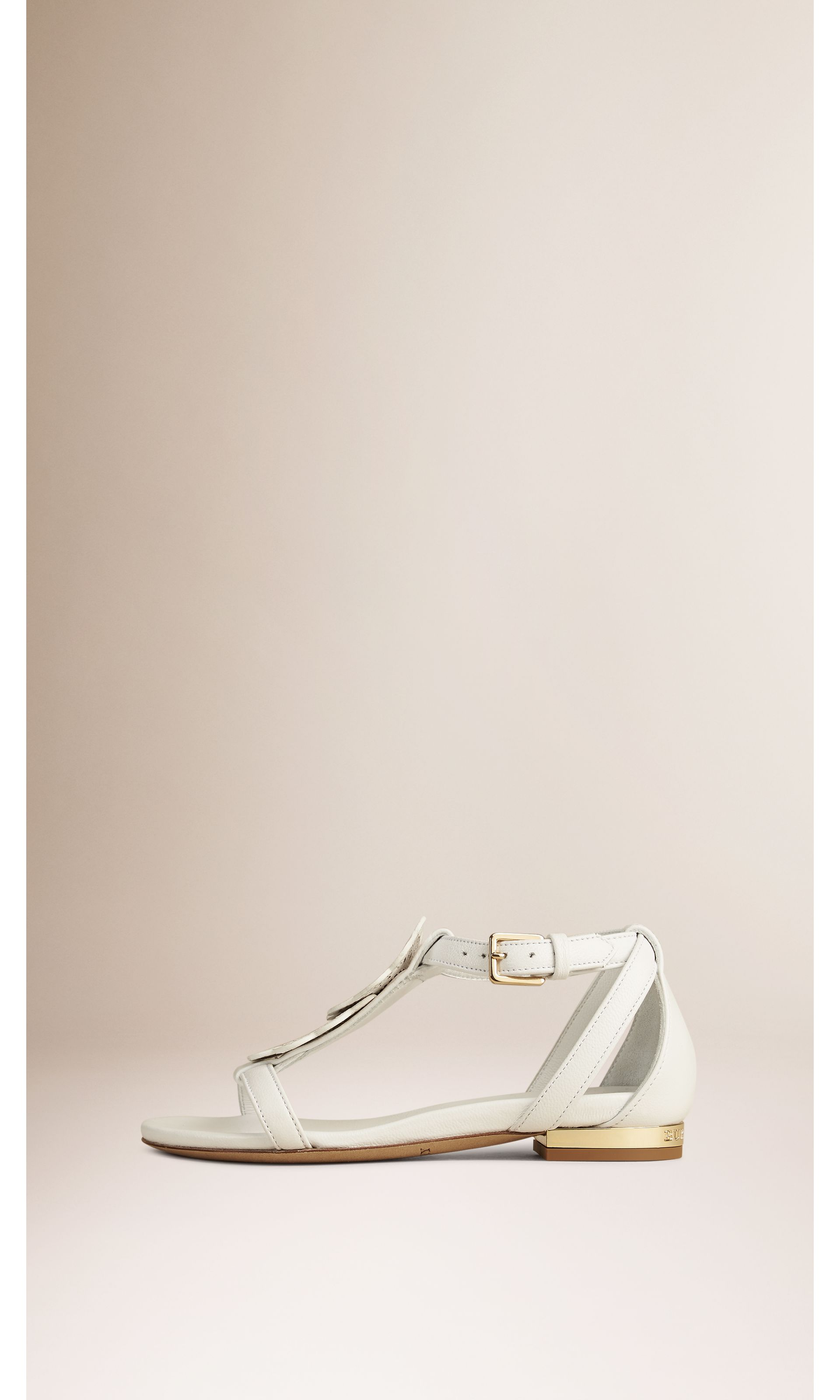 Optic white Floral Detail Leather Sandals - gallery image 3
