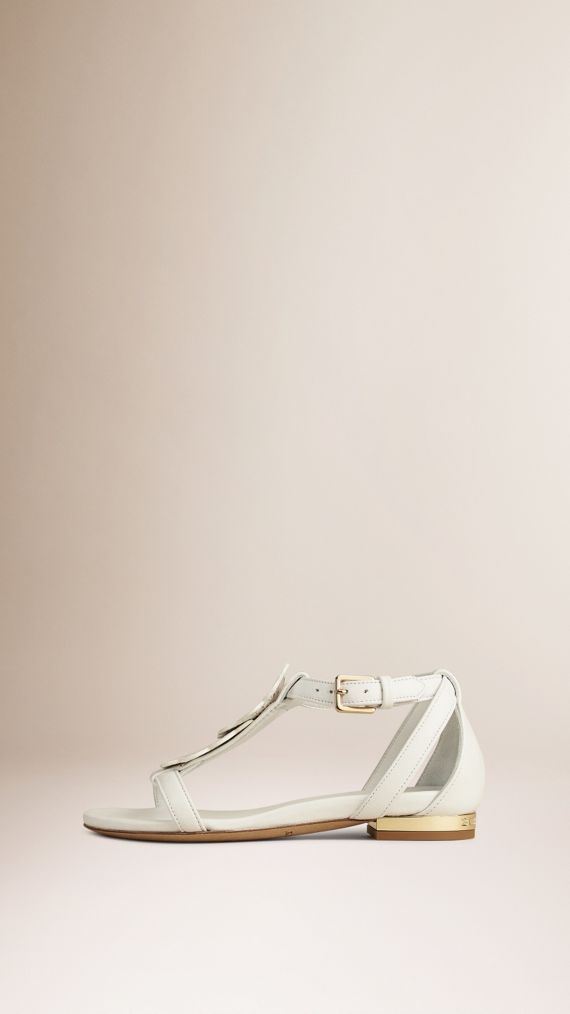 Optic white Floral Detail Leather Sandals - cell image 2