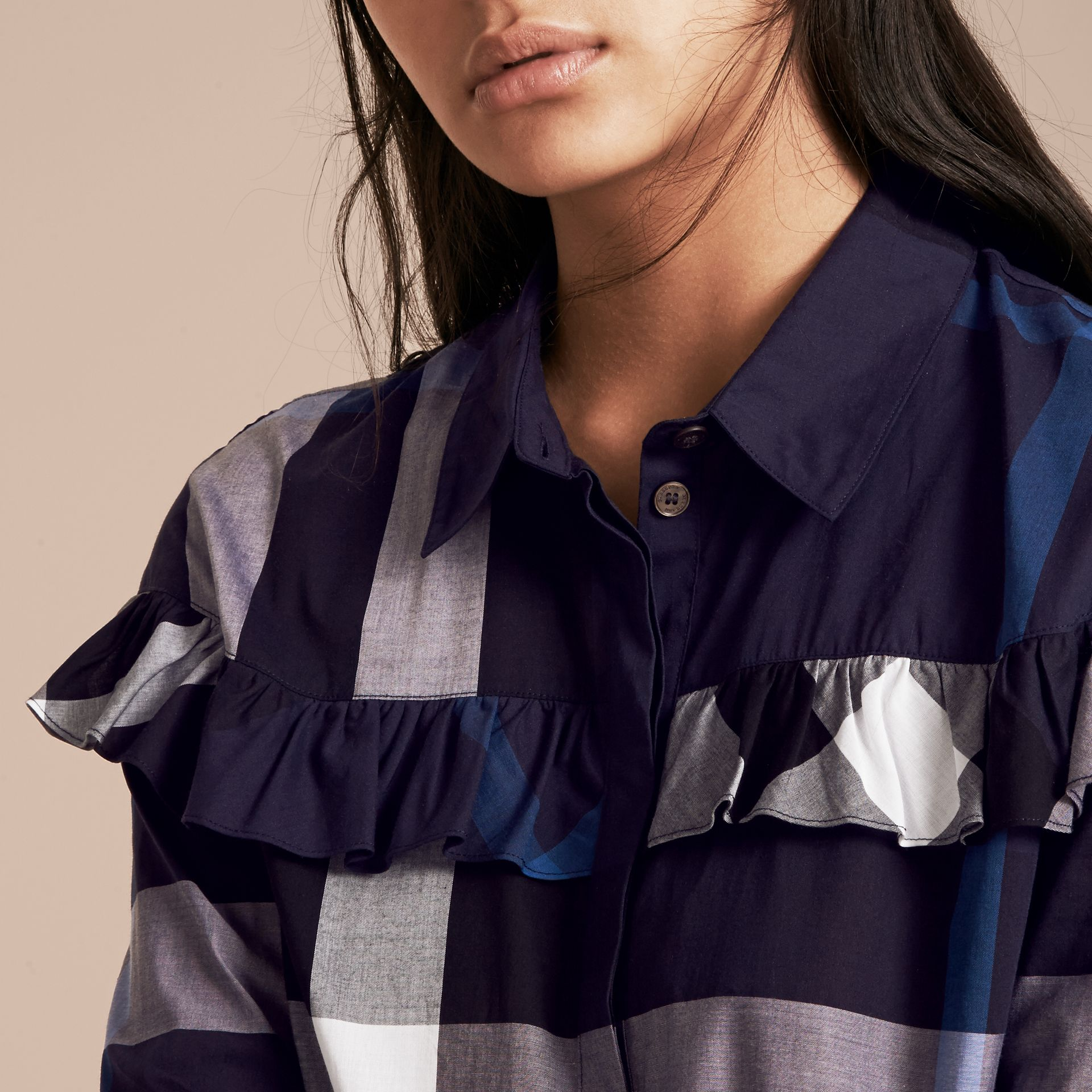 Navy Check Cotton Frill Detail Shirt Navy - gallery image 5