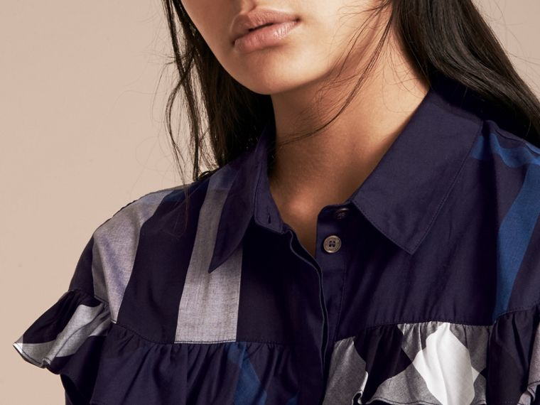 Navy Check Cotton Frill Detail Shirt Navy - cell image 4