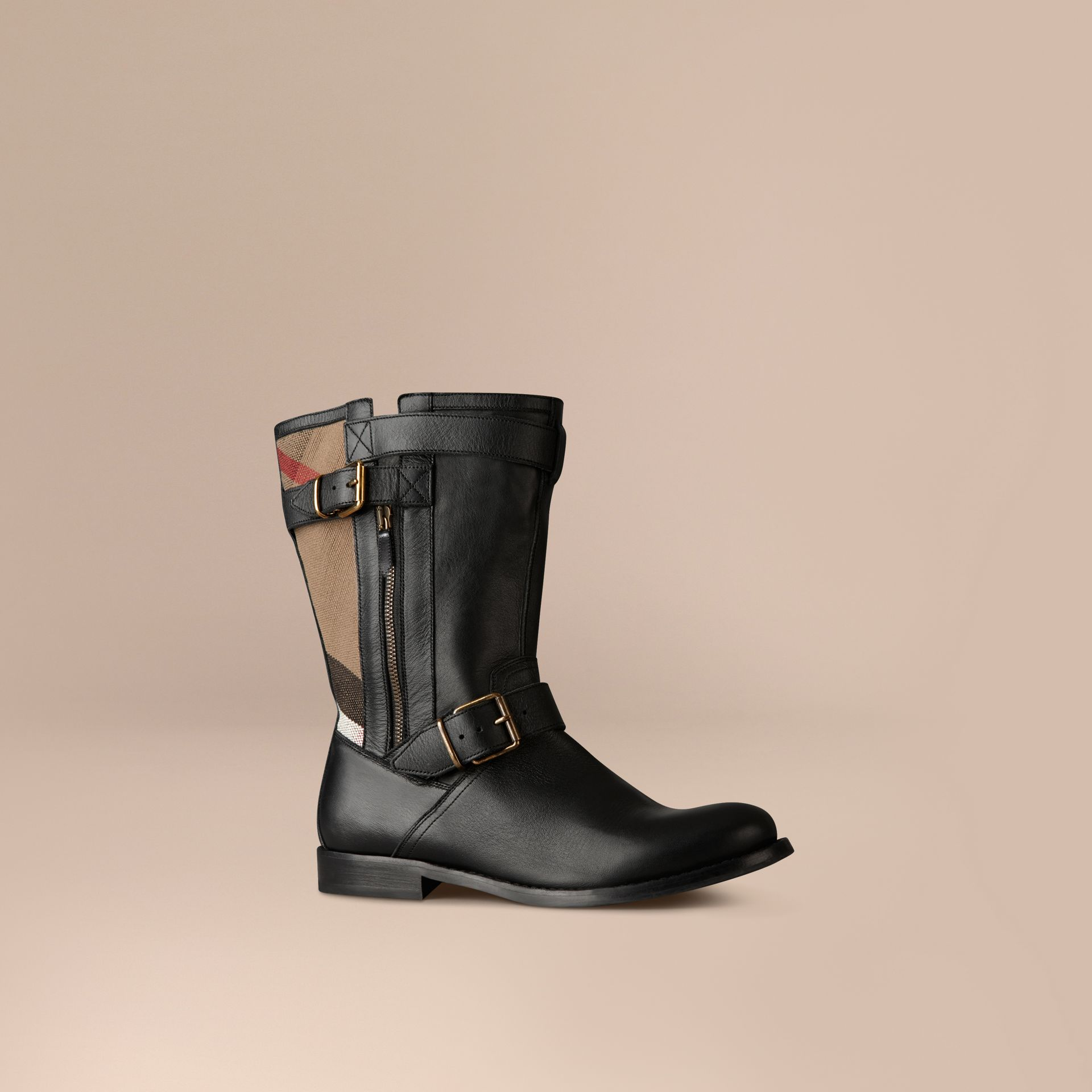 Check Detail Belted Leather Boots - gallery image 1