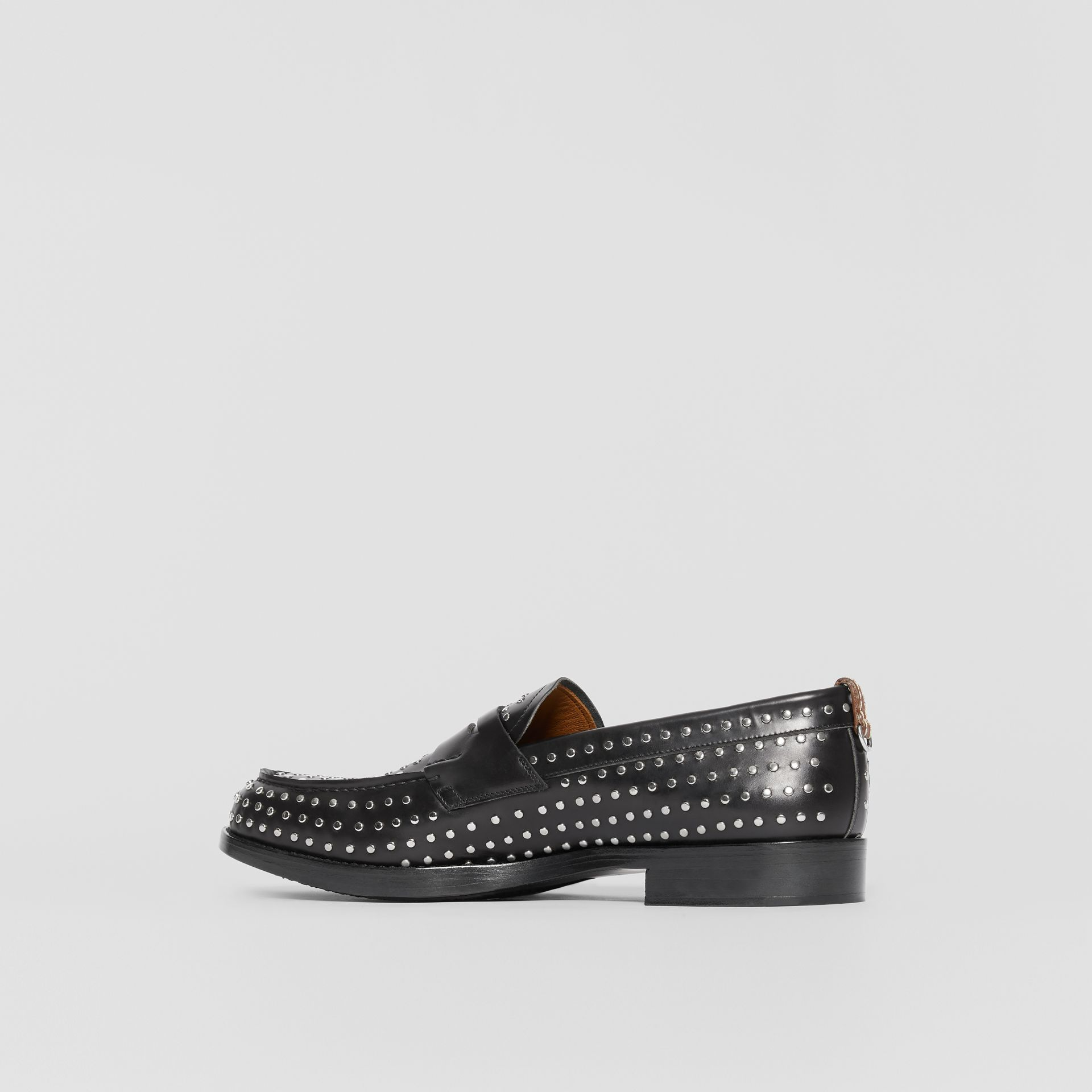 D-ring Detail Studded Leather Loafers in Black - Men | Burberry United Kingdom - gallery image 6
