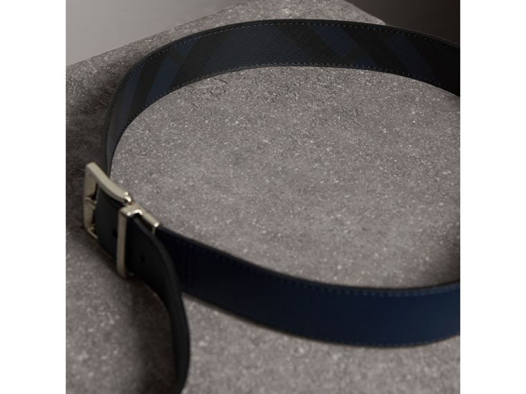 Reversible London Check and Leather Belt in Navy/black - Men | Burberry - cell image 4