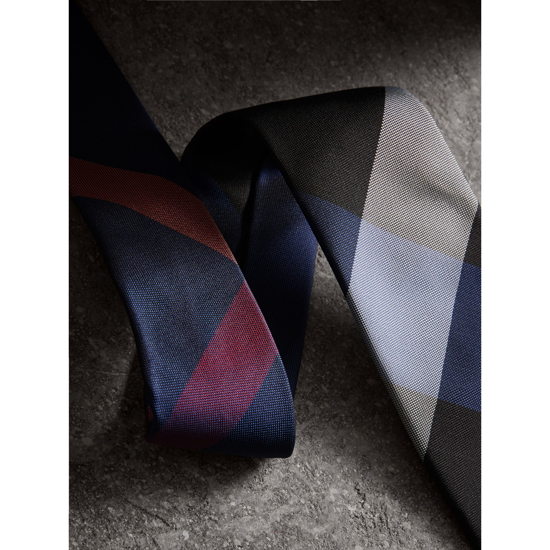 Modern Cut Check Silk Tie in Navy - Men | Burberry United Kingdom - gallery image 1