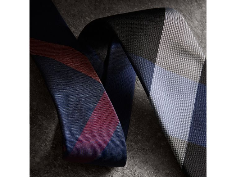 Modern Cut Check Silk Tie in Navy - Men | Burberry - cell image 1