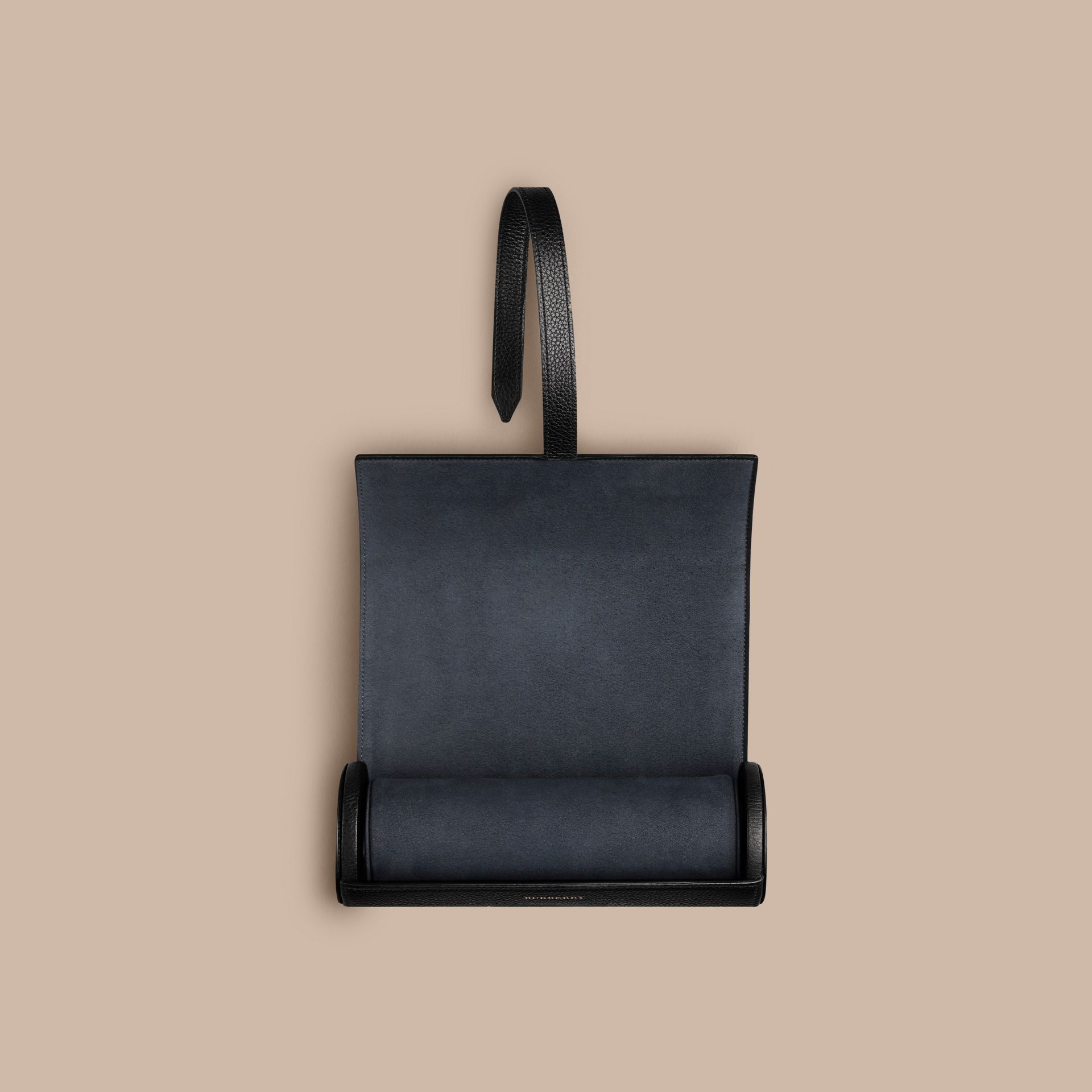 Nero Custodia per orologi in pelle a grana Nero - immagine della galleria 2